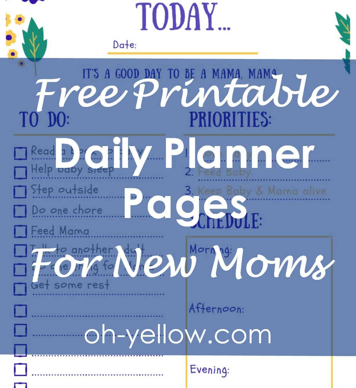 Free printable, daily planner, new mom, mom schedule, stay at home mom, organized, daily checklist, to do list, new baby, maternity leave, postpartum