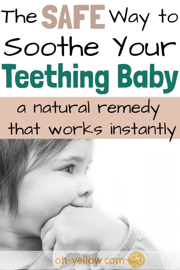 Teething baby? This natural teething remedy is safe for giving your baby relief when those teething symptoms strike. Soothe baby teething pain with this simple and gentle remedy... #teething #baby #momlife #momhacks #teethingremedies #natural #teethingrelief