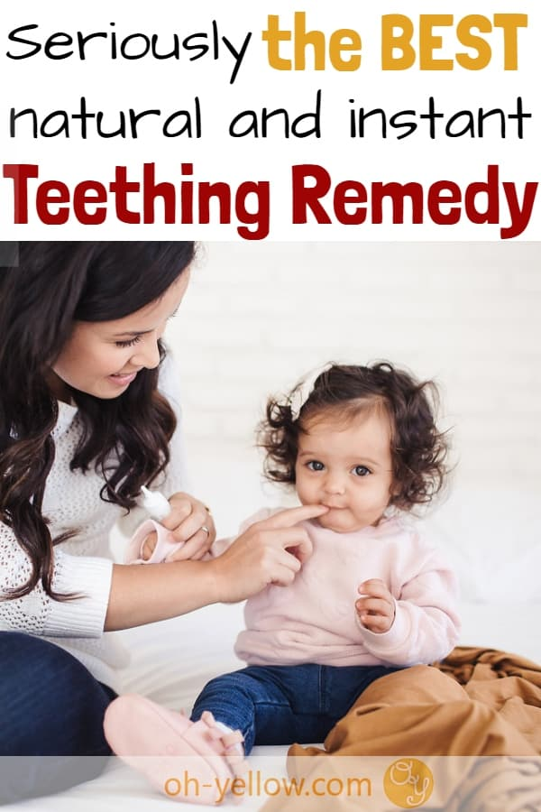 Teething remedy help for new moms! Teething is SO hard on EVERYONE. This natural teething remedy is fantastic and SAFE! Of all the teething remedies, this is my fave. It'll be your baby's fave too.. #teething #baby #toddler #newmom #momhacks #naturalbaby #teethingremedies #teethingremedy