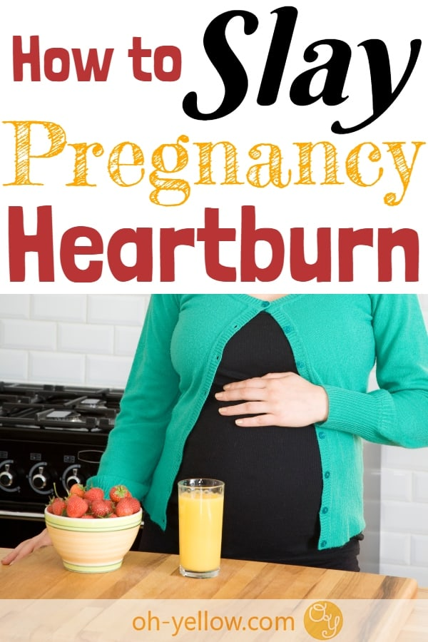Pregnant woman with pregnancy heartburn